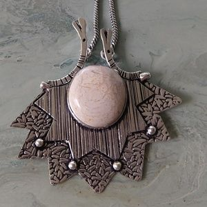 Nice picture jasper rustic necklace stamped 925